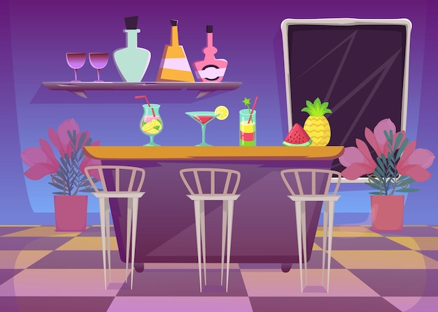 Comptoir de bar en discothèque ou café illustration plate.