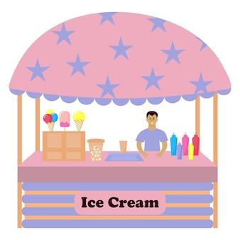 Comptoir de décrochage avec crème glacée. le vendeur masculin se tient derrière le comptoir. marché de rue de la crème glacée.