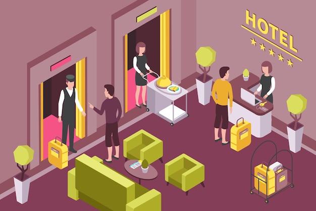 Comptoir de réception intérieur de l'hôtel coin salon pour les invités salon de petit-déjeuner service de chambre livraison illustration de composition isométrique
