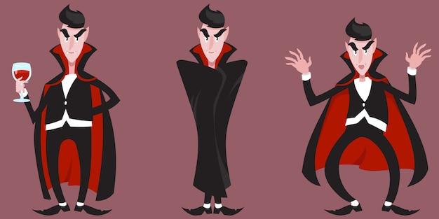 Comte dracula dans différentes poses.