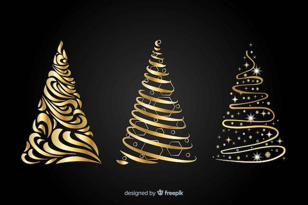 Concept abstrait d'arbre de noël doré