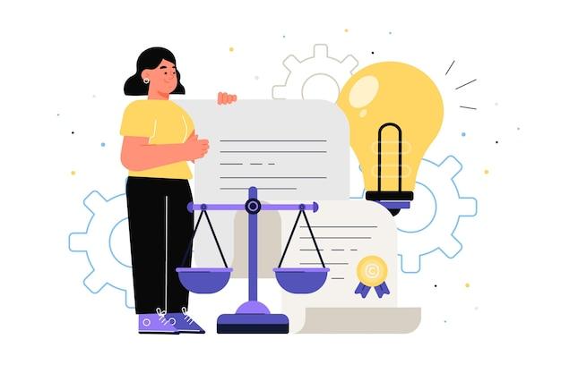 Concept abstrait de droit des brevets illustré