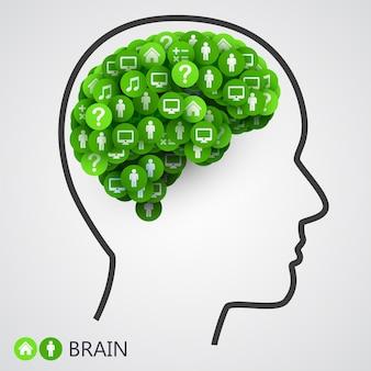 Concept abstrait du cerveau. cercles avec des pensées.