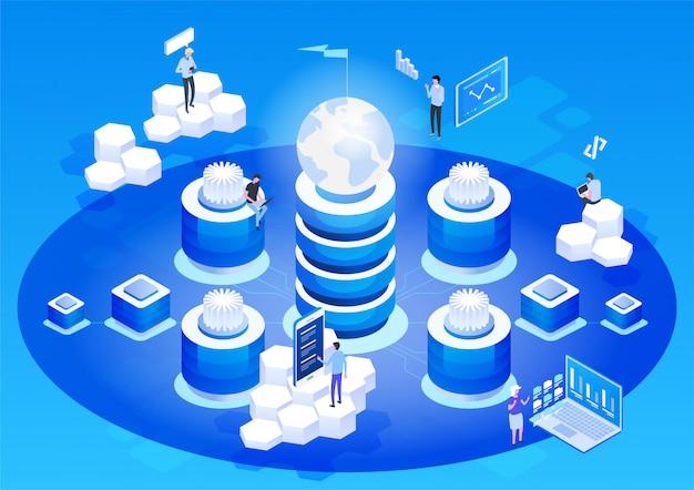 Concept abstrait de haute technologie. stockage de données. entreprise de technologie web cloud.