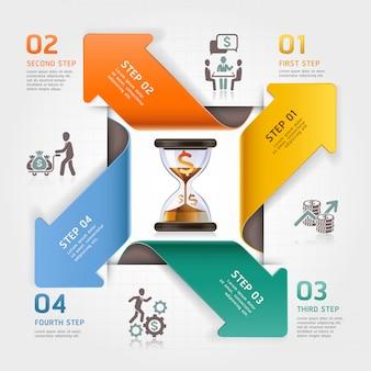 Concept abstrait d'horloge de sable de flèche. modèle d'infographie de gestion du temps de travail.