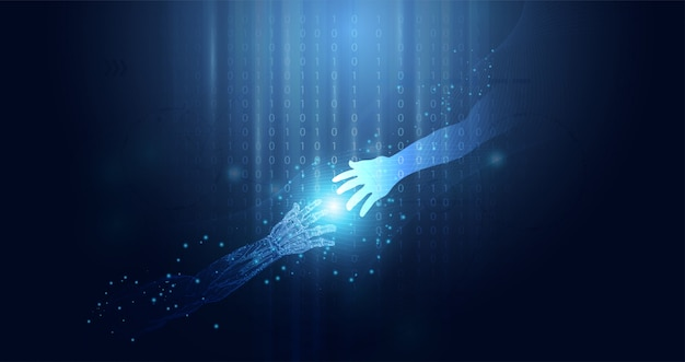 Concept abstrait de technologie ai coopération technologique de l'homme