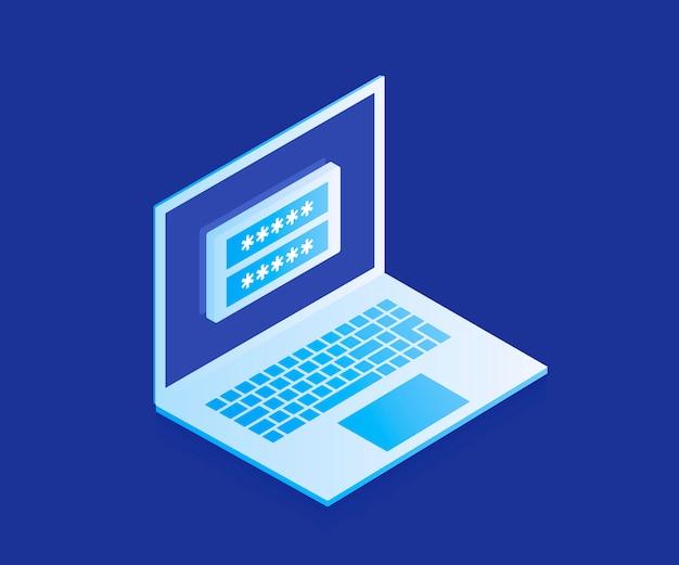 Concept d'accès aux données, formulaire de connexion sur écran d'ordinateur portable, compte personnel, processus d'autorisation, mot de passe inter. illustration moderne dans un style isométrique