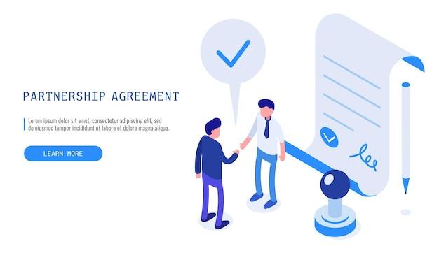 Concept d'accord de partenariat. deux hommes d'affaires finissant un accord commercial réussi. bannière web vecteur isométrique.