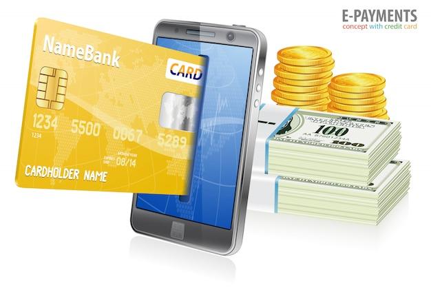 Concept d'achat sur internet et de paiements électroniques