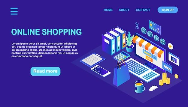 Concept d'achat en ligne. acheter dans un magasin de détail par internet vente à rabais ordinateur isométrique, argent, sac