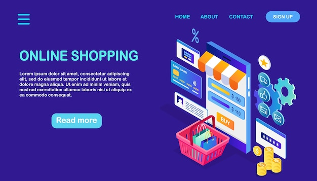Concept d'achat en ligne. acheter en magasin par internet vente à rabais téléphone isométrique, argent, panier
