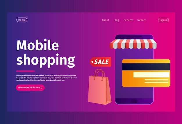 Concept d'achat en ligne de conception de pages web.