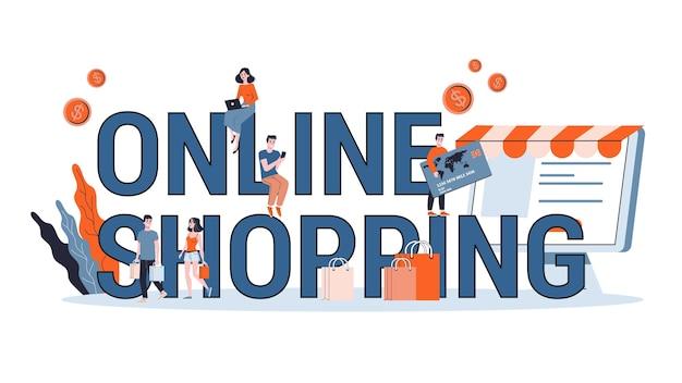 Concept d'achat en ligne. e-commerce, client sur la vente. app sur téléphone mobile et ordinateur. illustration avec style
