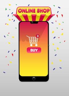 Concept d'achat en ligne avec image smartphone