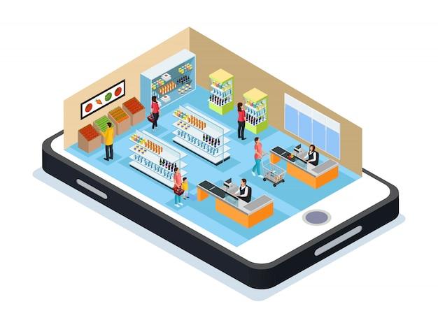 Concept d'achat en ligne isométrique