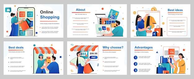 Concept d'achat en ligne pour le modèle de diapositive de présentation les gens achètent des vêtements ou des chaussures en magasin