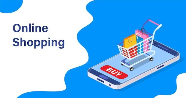 Concept d'achat en ligne de téléphone intelligent isométrique.