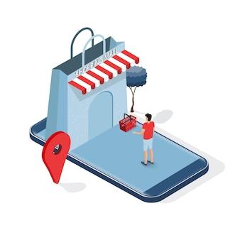 Concept D'achat En Ligne De Téléphone Intelligent Isométrique. Vecteur Premium
