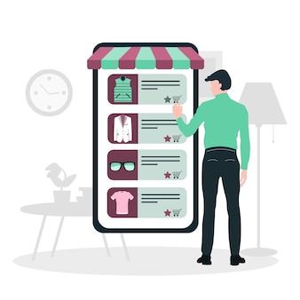 Concept d'achat mobile. un homme achète des choses dans la boutique en ligne. shopping sur les réseaux sociaux via le style de design plat du téléphone. illustration vectorielle de magasinage en ligne. eps
