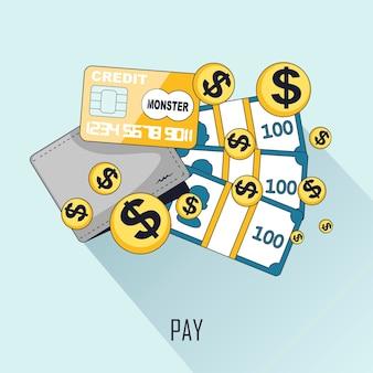 Concept d'achat : payer avec différents supports dans le style de ligne