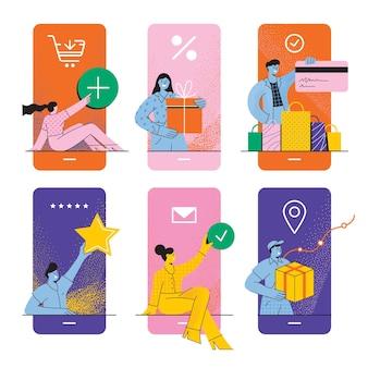 Concept d'achats en ligne écrans d'achats mobiles diverses personnes achetant en payant l'évaluation et la livraison