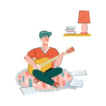 Concept d'activité à domicile un homme jouant de la guitare, illustration plate isolée.