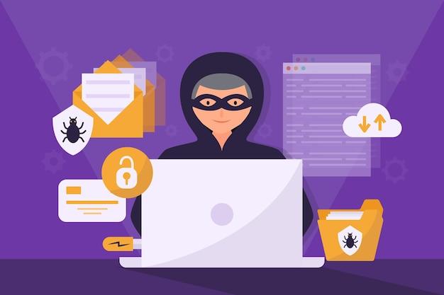 Concept d'activité de pirate avec homme et ordinateur portable