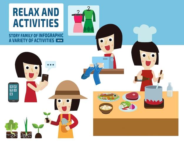 Concept d'activités de loisirs. éléments infographiques.