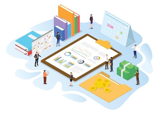 Concept d'administration financière avec illustration vectorielle de style isométrique ou 3d moderne