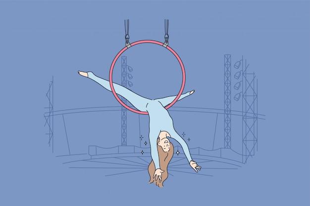 Concept aérien d'acrobaties d'art de sport de performance