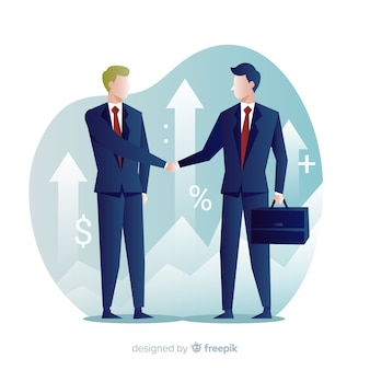 Concept d'affaire commerciale. la conception des personnages se serrant la main.
