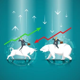 Concept d'affaire. homme d'affaires qui monte un taureau. homme d'affaires transportant l'ours. le symbole du marché boursier, marché baissier, marché haussier