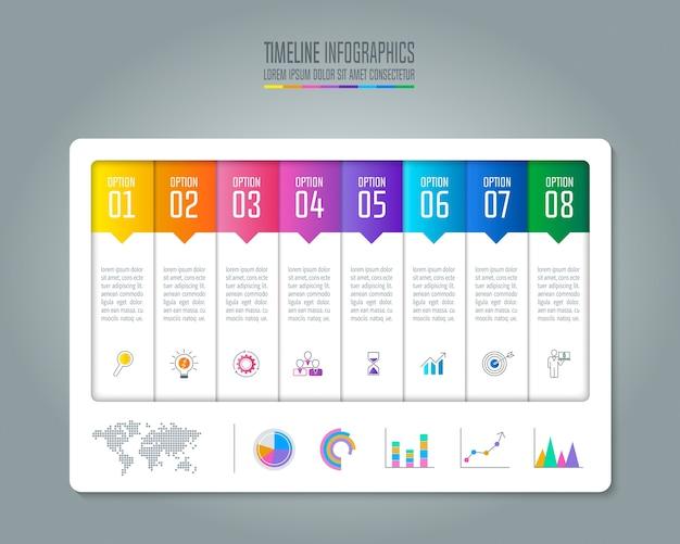 Concept d'affaires chronologie infographie avec 8 options.