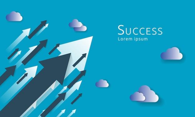 Concept d'affaires flèches fond à succès