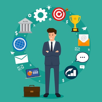 Concept d'affaires homme d'affaires permanent dans la composition des éléments de cercle. illustration vectorielle de caractère commercial.