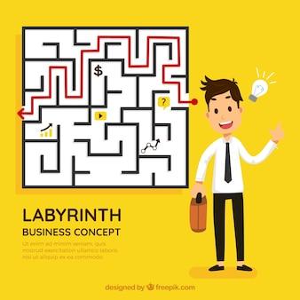 Concept d'affaires et d'idée avec labyrinthe
