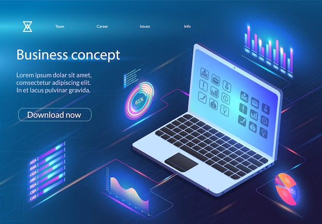 Concept d'affaires. infographie analytique financière.