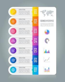 Concept d'affaires infographie chronologie avec 7 options.