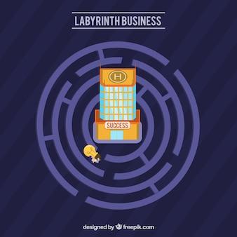 Concept d'affaires de labyrinthe avec style moderne