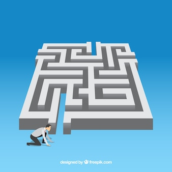Concept d'affaires plat avec labyrinthe