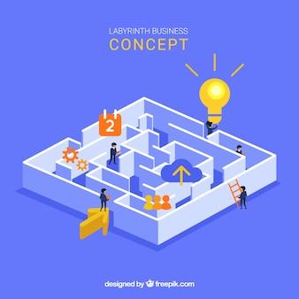 Concept d'affaires avec vue isométrique du labyrinthe