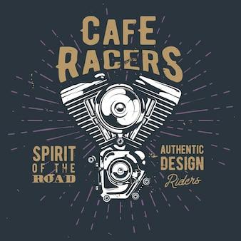 Concept d'affiche de café racers vintage avec moteur de moto détaillé, carte rétro avec citations inspirantes, effet sunburst et grunge