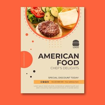 Concept d'affiche de cuisine américaine