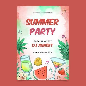 Concept d'affiche de fête d'été aquarelle