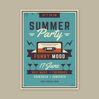 Concept d'affiche de fête d'été vintage