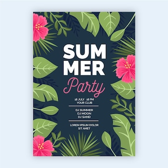 Concept d'affiche de fête tropicale