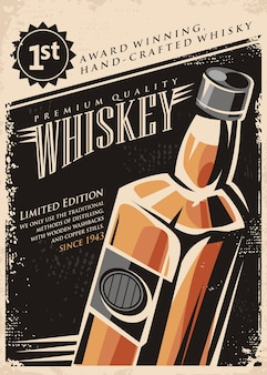 Concept d'affiche promotionnelle de whisky sur la texture du papier ancien