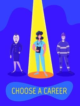 Concept d'agence d'emploi plat. concept d'embauche et de recrutement pour page web, bannière, présentation. choisissez une carrière