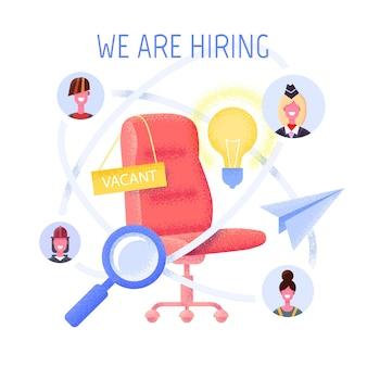 Concept d'agence d'emploi plat. concept d'embauche et de recrutement pour page web, bannière, présentation.