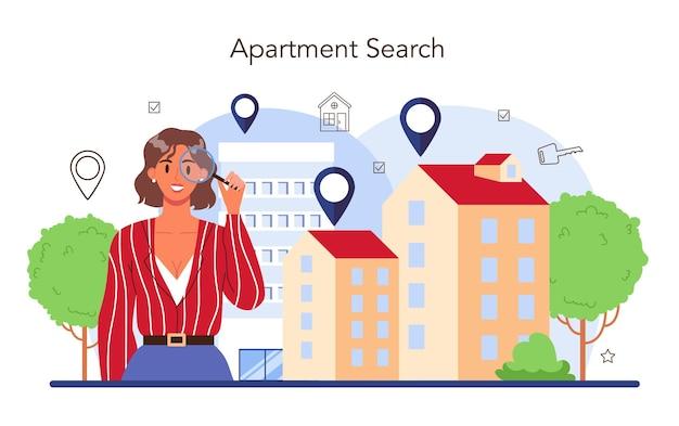 Concept d'agent immobilier. agent immobilier qualifié à la recherche du meilleur